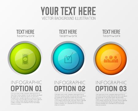 Info-graphic teamwork circles background with 3 options illustration. Çizim