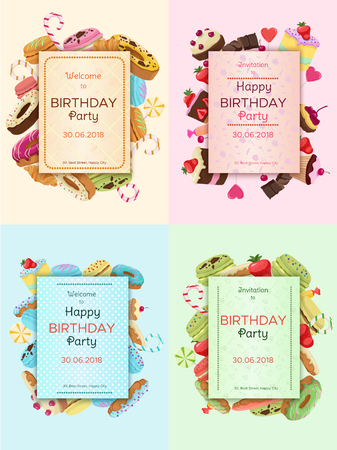 Colorful Birthday Party invitation cards illustration. Illustration