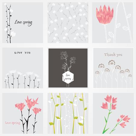 추상 다각형 꽃 자연 카드 그림입니다. 일러스트