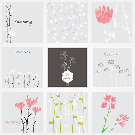 Abstract polygonal floral natural cards illustration.