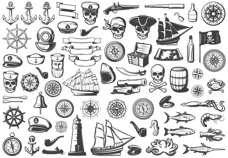 Vintage monochrome marine icons collection illustration.