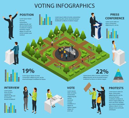 Isometric Voting Infographic Concept  イラスト・ベクター素材