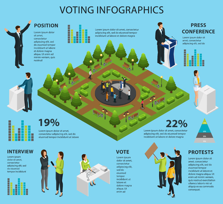 Isometric Voting Infographic Concept 矢量图像