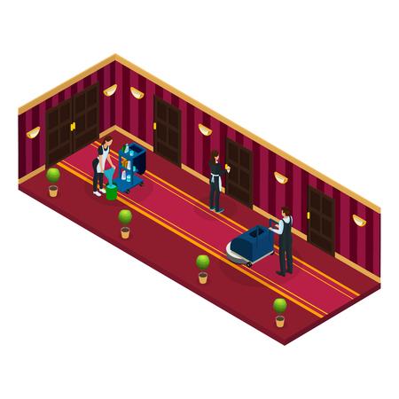 Isometrisches Hotel-Reinigungsservice-Konzept Standard-Bild - 94481832