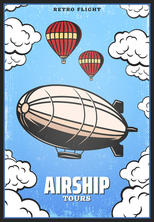 Vintage Colored Airship Poster