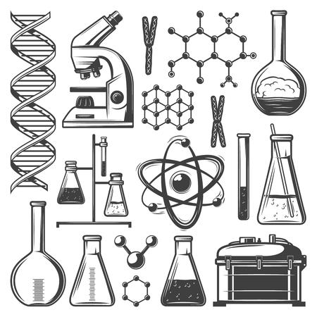 ヴィンテージ研究室の研究要素セット  イラスト・ベクター素材
