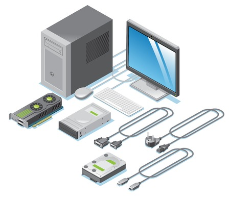 Isometric Computer Parts Collection Иллюстрация