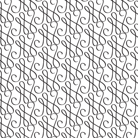 Abstract monochrome seamless pattern with repeating curved bent traceries in minimalistic style vector illustration Illustration