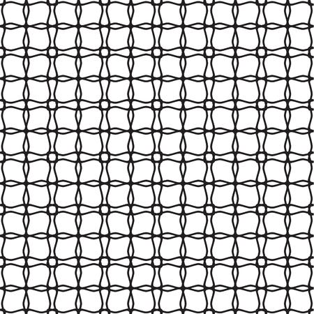 モノクロスタイルベクトルイラストで繰り返しネッティング幾何学的構造を持つ抽象的なミニマルグリッドシームレスパターン