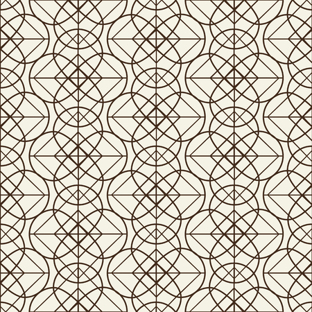 Monochromatic grid seamless pattern in linear design composed of intricate geometrical figures  flat vector illustration  Illustration