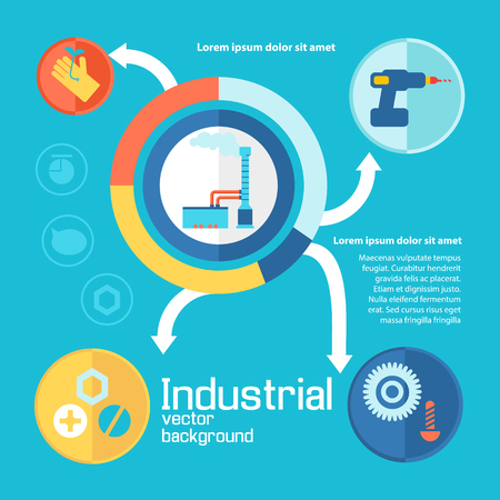 Industrial working process design concept on blue background with colored icons joined by white logical arrows concerning industry and factory elements vector illustration Illustration