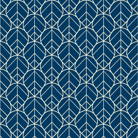 Floral seamless pattern with mosaic from leaves drawing by white lines on dark blue background flat vector illustration
