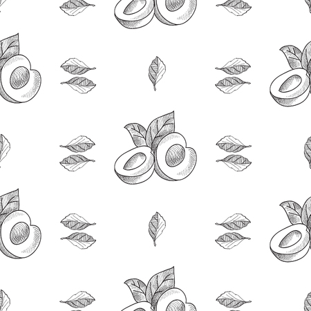 Abstract fruit seamless pattern with peaches and leaves in hand drawn style on white background vector illustration.