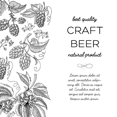 Black and white colored with hop cartoons with berries, foliage and many decorative squiggles and inscription about natural product of craft beer best quality hand drawn doodle vector illustration. Illustration