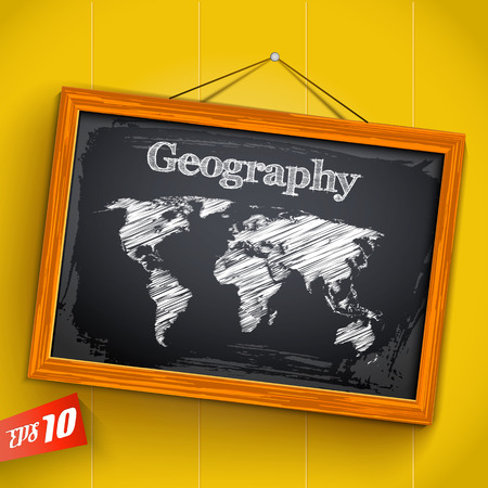 Hand drawn lettering geography and world map on chalkboard with wooden frame on yellow background vector illustration Ilustração
