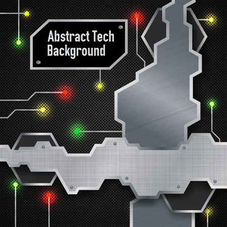 Abstract tech background poster with colorful lights as in the cosmic space, metal shapes and text in the centre of the black field vector illustration Illustration