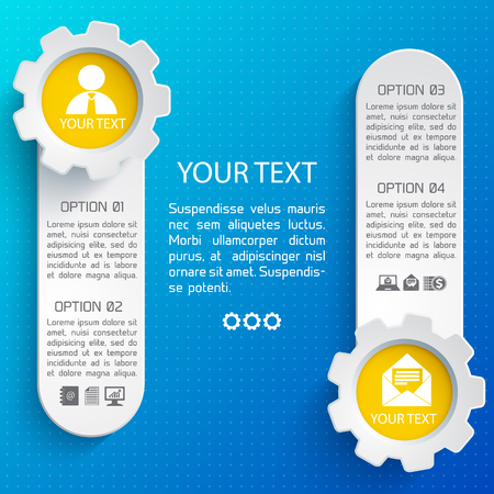 Abstract business web design background with two vertical banners and your text flat vector illustration