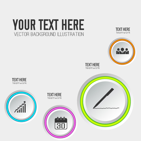 Infographic web interface template with round buttons colorful edging and business icons on light background vector illustration