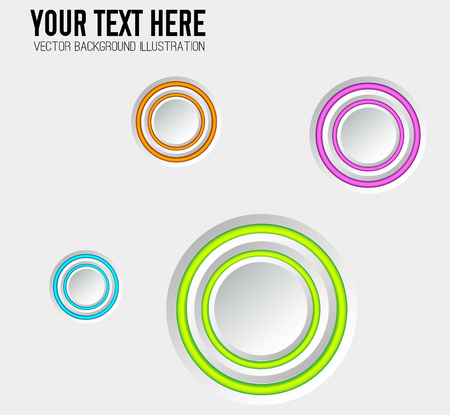 Business design elements with gray blank round buttons and colorful edging on light background isolated vector illustration