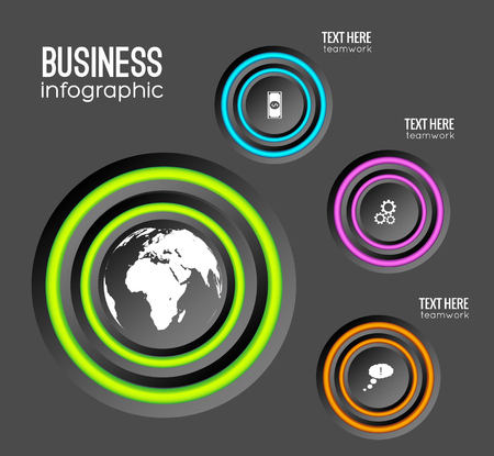 Web infographic business concept with circles colorful rings and icons on dark background isolated vector illustration Illustration