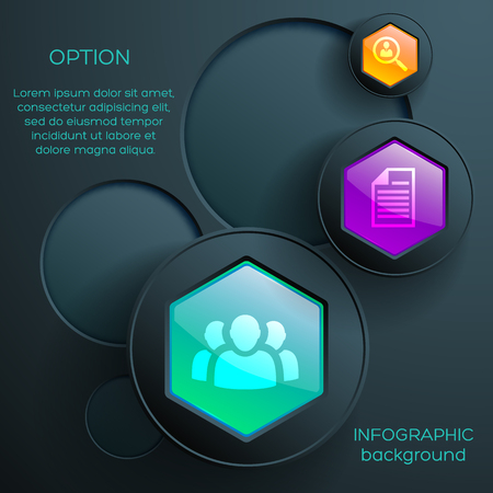 Digital business infographics with icons colorful glossy hexagonal buttons and dark circles vector illustration