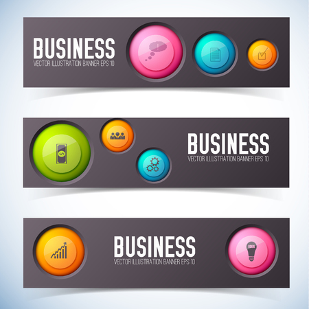 Infographic teamwork design concept with three horizontal banners set with images of cumbersome circle buttons pictograms vector illustration Çizim