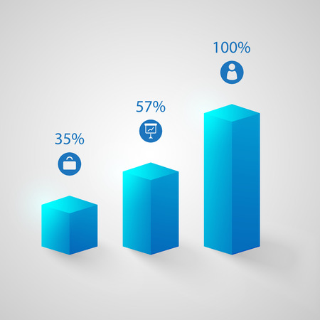 Business infographic template with 3d blue columns three steps icons and percent rates isolated vector illustration