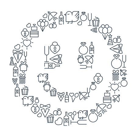 Festive monochrome concept with celebrating lined icons in smile shape on white background isolated vector illustration