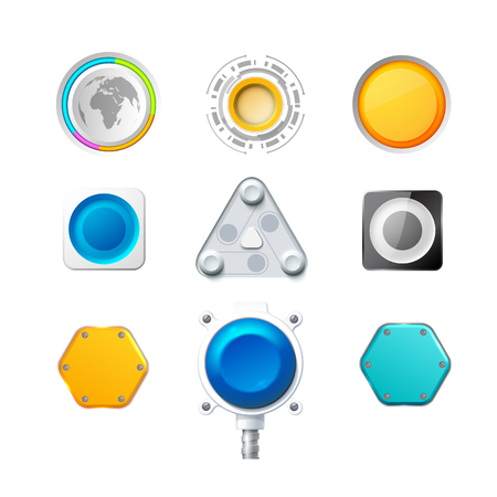 Set Of Nine Colorful Realistic Buttons And Switches Иллюстрация