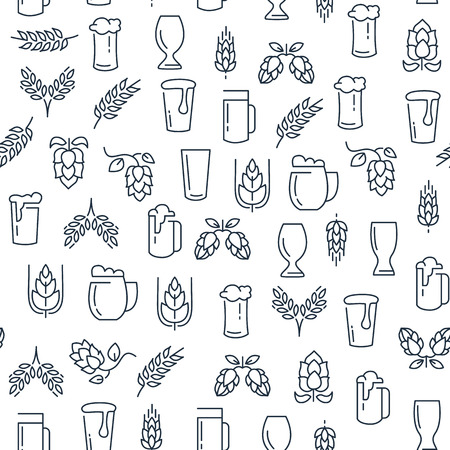 Brewing Monochrome Seamless Pattern