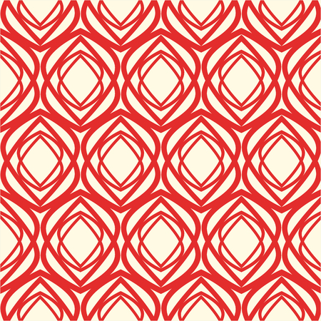 Red and white kaleidoscope seamless pattern with repetition of geometric shape as flower button vector illustration
