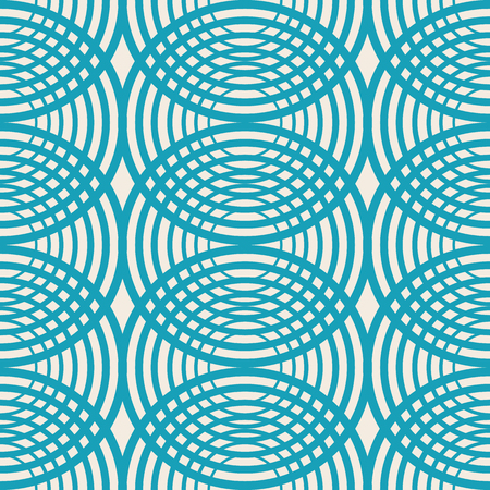 Decorative kaleidoscope seamless pattern with blue rounds as streaks on the water and symmetric geometric elements vector illustration Vectores