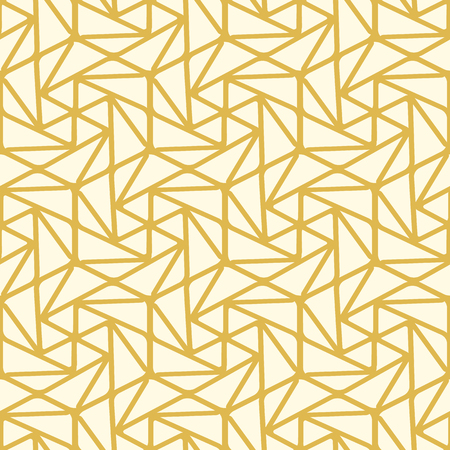 Seamless geometric triangle pattern with yellow lines, many repeatable shapes on the white background vector illustration