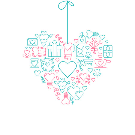 Garland heart template sketch poster with many beautiful objects symbolizing valentines day hand drawn on the white paper vector illustration