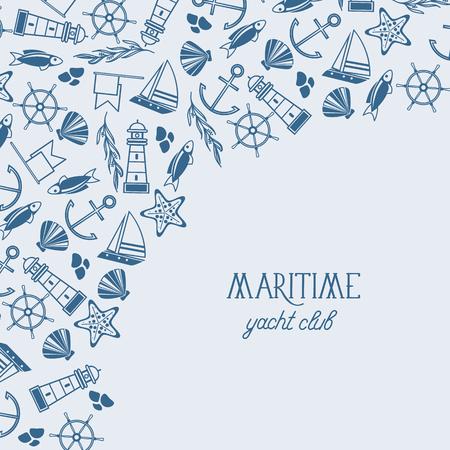 Maritieme kleurrijke jachtclub poster verdeeld over twee delen waar de naam van de jachtclub is en veel maritieme elementen zoals coquille, zeewier, stenen op de blauwe achtergrond als een zee vectorillustratie
