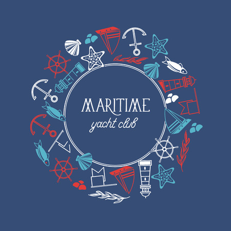Round frame maritime yacht club poster with numerous symbols including fish, ship, red stars and flags around the text on the blue background vector illustration