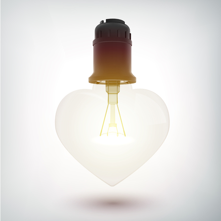 Realistic glowing electric bulb romantic concept in heart shape on gray background isolated vector illustration