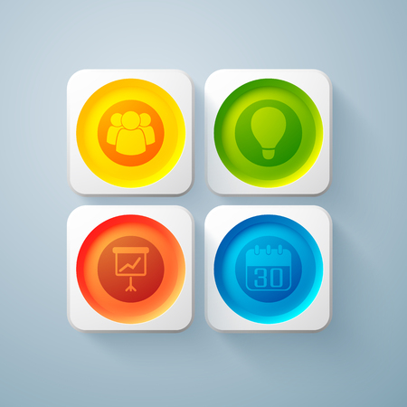 Web abstract business elements with colorful round buttons in square frames and icons isolated vector illustration Çizim