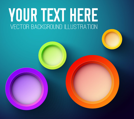 Colorful background with abstract circle 3d elements and proposal place your text here vector illustration