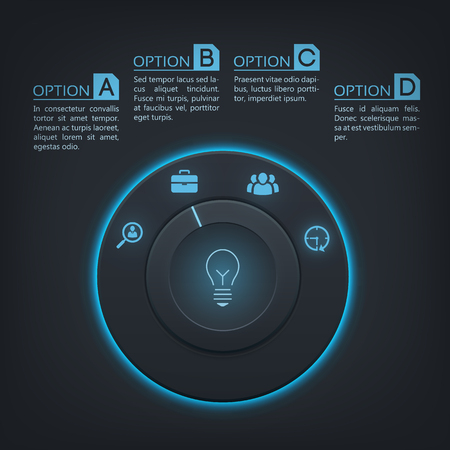 Interactive infographic template with control button blue backlight four steps and icons on dark background vector illustration