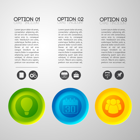 Business infographic concept with various options editable text columns and appropriate monochrome and colorful pictogram icons vector illustration