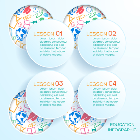 Abstract school infographics with cut out paper circles text and round holes with colorful icons vector illustration Illustration