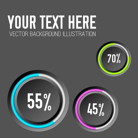 Web business infographics with round buttons colorful edging and percent rates on dark background isolated vector illustration