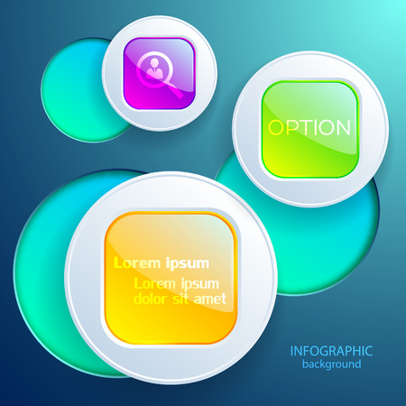 Web infographic design concept with colorful round squares in gray circles on light background isolated vector illustration