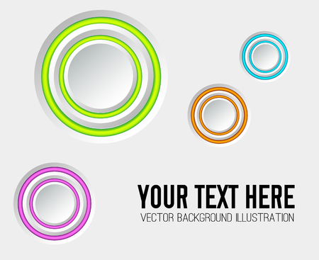 Web business design concept with gray blank circles and colorful edging on light background isolated vector illustration Illustration