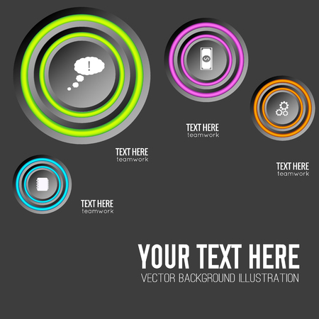 Abstract infographic concept with round buttons colorful rings and business icons on dark background isolated vector illustration