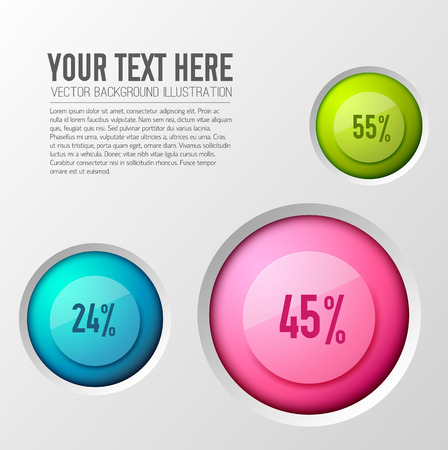 Business concept with infographic images of poll options with percentage values inscribed in colorful round icons vector illustration.