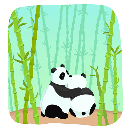 Romantic light template with embrace of two amorous pandas in bamboo forest vector illustration Banco de Imagens - 94902351