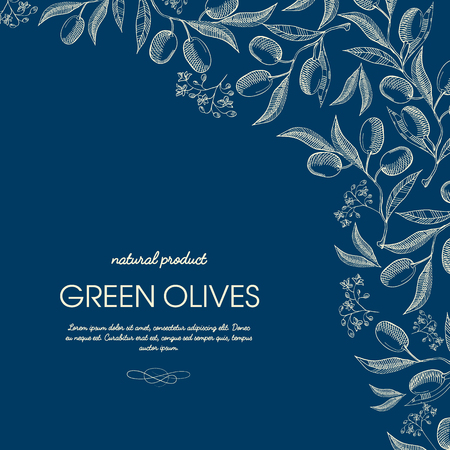 Abstract olive oil template with natural tree branches in vintage style on blue background vector illustration
