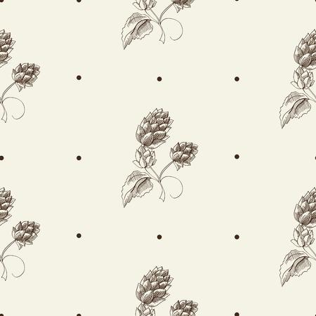 グレーの背景ベクトルイラストにビールホップ植物を繰り返す抽象的なハーブスケッチシームレスなパターン